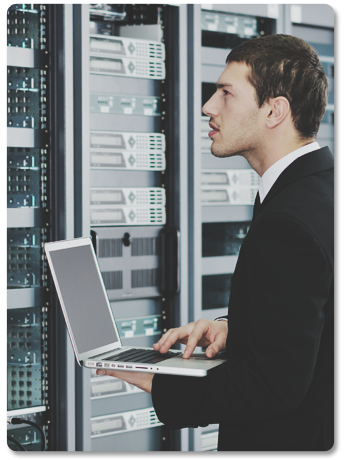 Man Checking Data Servers